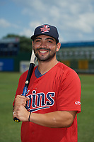 Elizabethton Twins Alex Robles (24) poses for a photo before a game against the Bristol Pirates on July 29, 2018 at Joe O'Brien Field in Elizabethton, Tennessee.  Bristol defeated Elizabethton 7-4.  (Mike Janes/Four Seam Images)