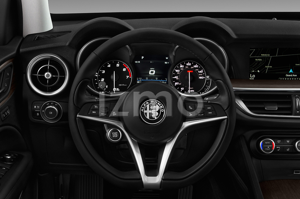 Car pictures of steering wheel view of a 2018 Alfa Romeo Stelvio Ti 5 Door SUV