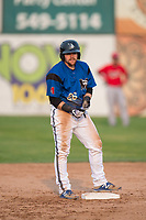 Missoula Osprey first baseman Joe Robbins (26) stands on second base after hitting a double during a Pioneer League game against the Orem Owlz at Ogren Park Allegiance Field on August 19, 2018 in Missoula, Montana. The Missoula Osprey defeated the Orem Owlz by a score of 8-0. (Zachary Lucy/Four Seam Images)