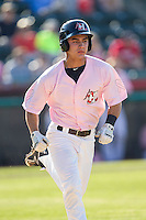 Evan Van Hoosier (36) of the Hickory Crawdads hustles down the first base line against the Augusta GreenJackets at L.P. Frans Stadium on May 11, 2014 in Hickory, North Carolina.  The GreenJackets defeated the Crawdads 9-4.  (Brian Westerholt/Four Seam Images)