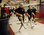 Dan Boothby (NU - Strength & Conditioning Coach), Wade MacLeod (NU - 19), Randy Guzior (NU - 13), David Strathman (NU - 6) - The Boston College Eagles defeated the Northeastern University Huskies 5-1 on Saturday, November 7, 2009, at Conte Forum in Chestnut Hill, Massachusetts.