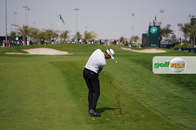 Victor Perez (FRA) on the 9th during Round 4 of the Saudi International at the Royal Greens Golf and Country Club, King Abdullah Economic City, Saudi Arabia. 02/02/2020<br /> Picture: Golffile | Thos Caffrey<br /> <br /> <br /> All photo usage must carry mandatory copyright credit (© Golffile | Thos Caffrey)