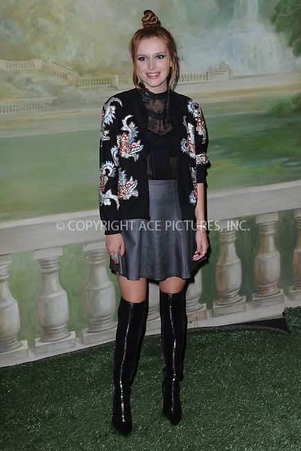 WWW.ACEPIXS.COM<br /> September 8, 2014 New York City<br /> <br /> Bella Thorne attending the Alice + Olivia By Stacy Bendet presentation during Mercedes-Benz Fashion Week Spring 2015 at The Pierre Hotel on September 8, 2014 in New York City.<br /> <br /> By Line: Kristin Callahan/ACE Pictures<br /> ACE Pictures, Inc.<br /> tel: 646 769 0430<br /> Email: info@acepixs.com<br /> www.acepixs.com