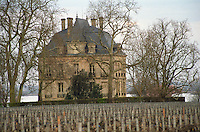 Vineyard. The chateau building. Chateau Latour, Pauillac, Medoc, Bordeaux, France