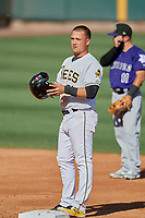 Matt Thaiss (21) of the Salt Lake Bees stands at second base against the Albuquerque Isotopes at Smith's Ballpark on April 27, 2019 in Salt Lake City, Utah. The Isotopes defeated the Bees 10-7. This was a makeup game from April 26, 2019 that was cancelled due to rain. (Stephen Smith/Four Seam Images)