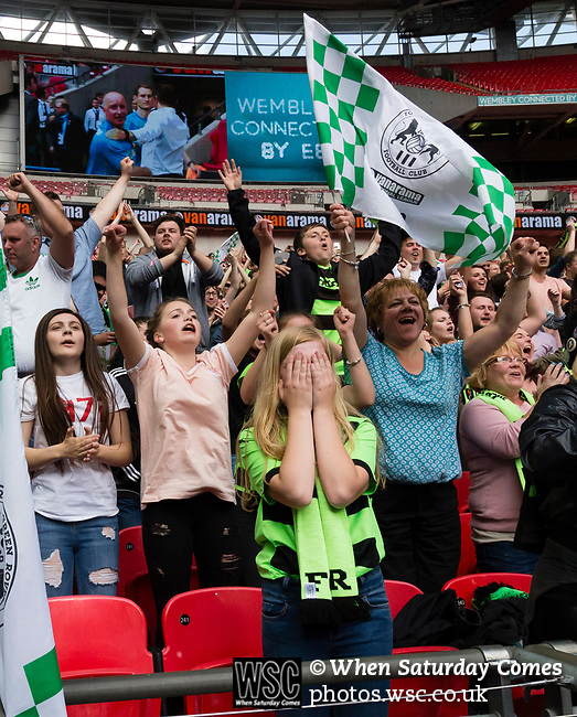 Tranmere Rovers 1 Forest Green Rovers 3, 14/05/2017. Wembley Stadium, Conference play off Final. The celebrations begin at full time during the Vanarama Conference play off Final  between Tranmere Rovers v Forest Green Rovers at the Wembley. Photo by Paul Thompson.