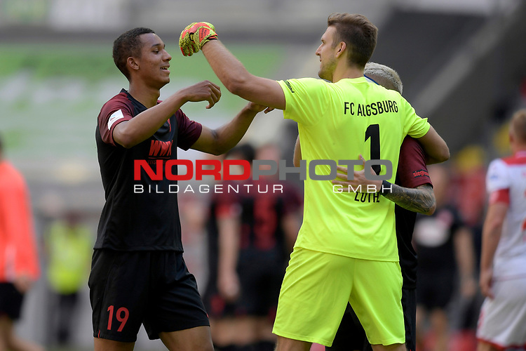 Schlussjubel Chris Felix UDUOKHAI  (FC Augsburg) <br />mit Torwart Andreas LUTHE (FC Augsburg)<br />und Philipp MAX (FC Augsburg)<br /><br />Fussball 1. Bundesliga, 33.Spieltag, Fortuna Duesseldorf (D) -  FC Augsburg (A), am 20.06.2020 in Duesseldorf/ Deutschland. <br /><br />Foto: AnkeWaelischmiller/Sven Simon/ Pool/ via Meuter/Nordphoto<br /><br /># Editorial use only #<br /># DFL regulations prohibit any use of photographs as image sequences and/or quasi-video #<br /># National and international news- agencies out #