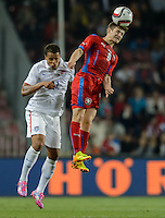 PRAGUE, Czech Republic - September 3, 2014: USA's Timmy Chandler and Vaclav Pilar of the Czech Republic during the international friendly match between the Czech Republic and the USA at Generali Arena.
