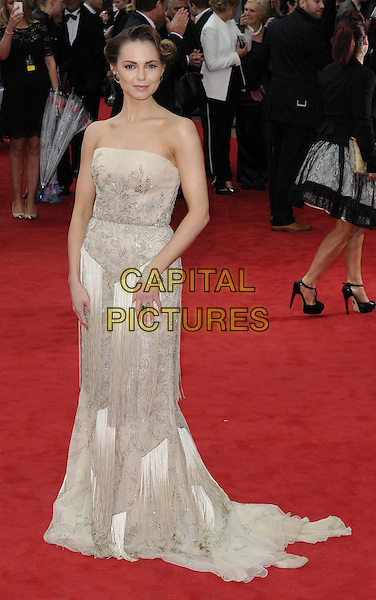 Kara Tointon.Arqiva British Academy Television Awards in 2013 at the Royal Festival Hall, London, England..12th May 2013.BAFTA BAFTAS full length silver grey gray strapless dress fringed vintage  .CAP/CAN.©Can Nguyen/Capital Pictures.