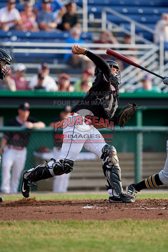 Batavia Muckdogs catcher Igor Baez (29) throws to second base during a game against the West Virginia Black Bears on July 2, 2018 at Dwyer Stadium in Batavia, New York.  West Virginia defeated Batavia 3-1.  (Mike Janes/Four Seam Images)