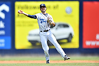 Asheville Tourists shortstop Terrin Vavra (6) fields the ball and throws to first during a game against the Delmarva Shorebirds at McCormick Field on May 5, 2019 in Asheville, North Carolina. The Shorebirds defeated the Tourists 10-9. (Tony Farlow/Four Seam Images)