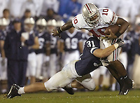 08 October 2005:  Penn State LB Paul Posluszny (31) hits Ohio State QB Troy Smith (10).  The Penn State Nittany Lions knocked off the #6 Ohio State Buckeyes 17-10 October 8, 2005 at Beaver Stadium in State College, PA.&amp;#xD;<br />