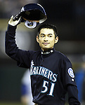 Seattle Mariners Ichiro Suzuki tips his hat to the fans after hitting a ball into center  field which broke George Sisler's 1920 single season record of 257in the third inning at Safeco Field on Friday, Oct. 1, 2004 in Seattle. Suzuki has hit 258 so far this season. (Jim Bryant Photo. ©2010. ALL RIGHTS RESERVED.