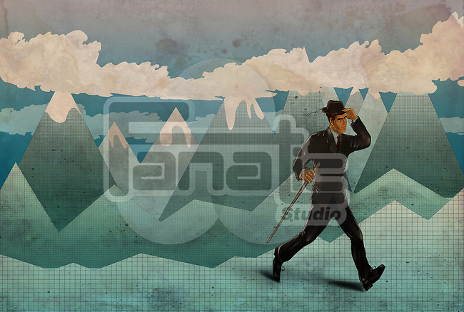 Illustrative image of businessman on a hiking trip
