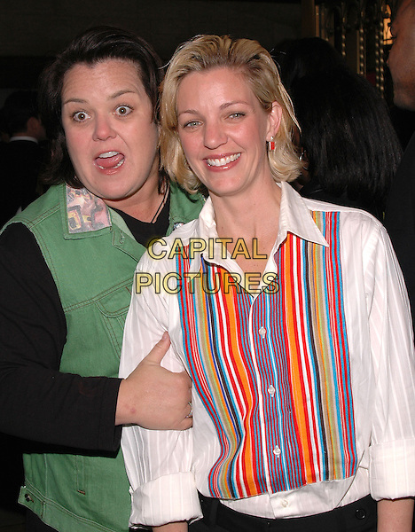 "ROSIE O'DONNELL & KELLI CARPENTER.The premiere of the musical ""Sweet Charity"" on Broadway. .May 4th, 2005.Photo Credit: Patti Ouderkirk/AdMedia.half length parter couple arms linked mouth open funny face striped shirt.www.capitalpictures.com.sales@capitalpictures.com.© Capital Pictures."