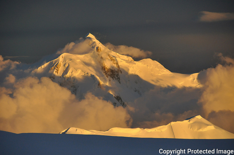 Mount Hunter from the 14;200' camp on Denali's West Buttress route, Alaska Range.