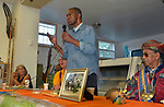 "Dr.  A.J. Williams-Myers, speaking on the subject of the Nat Turner Slave Rebellion, at the ""An Evening of Real History"" event, at the A.J. Williams-Myers African Roots Center, in Kingston, NY, on Saturday, July 29, 2017. Photo by Jim Peppler. Copyright/Jim Peppler-2017."