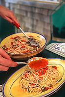 Spaghetti recipe fresh sauce made with home grown tomatoes and basil, Michele Anna Jordon