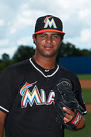 GCL Marlins pitcher Leurys De La Rosa (26) poses for a photo before the second game of a doubleheader against the GCL Mets on July 24, 2015 at the St. Lucie Sports Complex in St. Lucie, Florida.  GCL Marlins defeated the GCL Mets 5-4.  (Mike Janes/Four Seam Images)