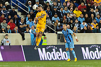 HARRISON, NJ - MARCH 11: Andre Gignac #10 of Tigres UANL goes up for a header during a game between Tigres UANL and NYCFC at Red Bull Arena on March 11, 2020 in Harrison, New Jersey.