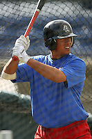 April 15 2009: Kevin Ramos of the Rancho Cucamonga Quakes before game against the Visalia Rawhide at The Epicenter in Rancho Cucamonga,CA.  Photo by Larry Goren/Four Seam Images