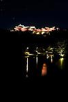 Photo shows Shuri Castle illuminated at night in Naha, Okinawa Prefecture, Japan, on June 24, 2012. Photographer: Robert Gilhooly