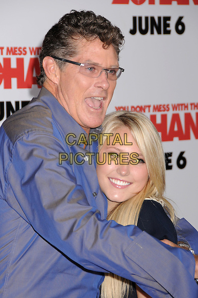 "DAVID HASSELHOFF & HAYLEY AMBER HASSELHOFF.""You Don't Mess With The Zohan"" LA Premiere at Grauman's Chinese Theatre, Hollywood, California, USA..May 28th, 2008.half length black blue shirt top father daughter dad family glasses mouth open hug embrace .CAP/ADM/BP.©Byron Purvis/AdMedia/Capital Pictures."