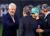 Carlos Bremer, Carlos Slim, Bill Clinton, former president of the United States, and Saul El Canelo Alvarez, Mexican boxer at the launch of the first ball during the opening ceremony of the Caribbean Series 2018 held at EstadioCharros de Jalisco in Guadalajara, Mexico, Friday 2 Feb 2018. (Photo: Luis Gutierrez)