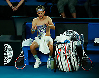2nd February 2020; Melbourne Park, Melbourne, Victoria, Australia; Australian Open Tennis, Mens singles final on Day 14; Dominic Thiem of Austria changes shirts during his singles final match against Novak Djokovic of Serbia