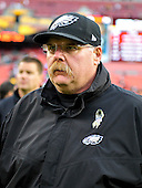 Philadelphia Eagles head coach Andy Reid leaves the field following his team's 31 - 6 loss to the Washington Redskins at FedEx Field in Landover, Maryland on Sunday, November 18, 2012.  .Credit: Ron Sachs / CNP