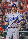 7 October 2016: Los Angeles Dodgers outfielder Josh Reddick in action during Game 1 of the NLDS against the Washington Nationals at Nationals Park in Washington, DC. The Dodgers edged out the Nationals 4-3 to take the opening game of their best-of-five series. Mandatory Credit: Ed Wolfstein Photo *** RAW (NEF) Image File Available ***