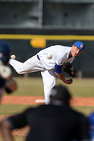 South Dakota State JackRabbits pitcher Tyler Shannon (3) delivers a pitch during a game against the Georgetown Hoyas at South County Regional Park on March 9, 2014 in Port Charlotte, Florida.  Georgetown defeated South Dakota 7-4.  (Mike Janes/Four Seam Images)