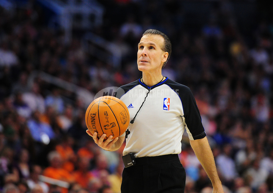 Mar. 30, 2011; Phoenix, AZ, USA; NBA referee Ken Mauer in the second half of the game between the Phoenix Suns against the Oklahoma City Thunder at the US Airways Center. The Thunder defeated the Suns 116-98. Mandatory Credit: Mark J. Rebilas-