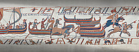 Bayeux Tapestry scene 39:  Horses are disembarked in England from Duke Williams invasion fleet.
