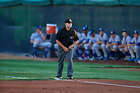 1B umpire Tom Fornarolla calls the bases at Home of the Owlz on September 11, 2017 in Orem, Utah. The Ogden Raptors played the Orem Owlz for the south division title. Ogden defeated Orem 7-3 to win the South Division Championship. (Stephen Smith/Four Seam Images)