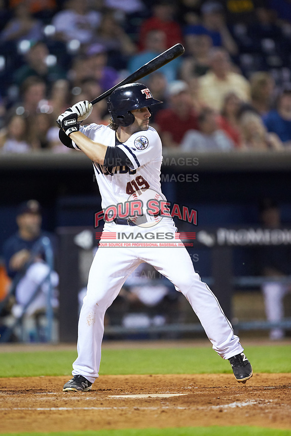 Pete Kozma (24) of the Toledo Mud Hens at bat against the Louisville Bats at Fifth Third Field on June 16, 2018 in Toledo, Ohio. The Mud Hens defeated the Bats 7-4.  (Brian Westerholt/Four Seam Images)