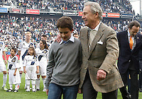 CARSON, CA - DECEMBER 01, 2012:  Philip Anschutz owner of the Los Angeles Galaxy with his grandson before the 2012 MLS Cup at the Home Depot Center, in Carson, California on December 01, 2012. The Galaxy won 3-1.