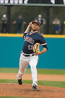 University of Virginia Cavaliers pitcher Alec Bettinger (13) on the mound during a game against the University of Coastal Carolina Chanticleers at Springs Brooks Stadium on February 21, 2016 in Conway, South Carolina. Coastal Carolina defeated Virginia 5-4. (Robert Gurganus/Four Seam Images)