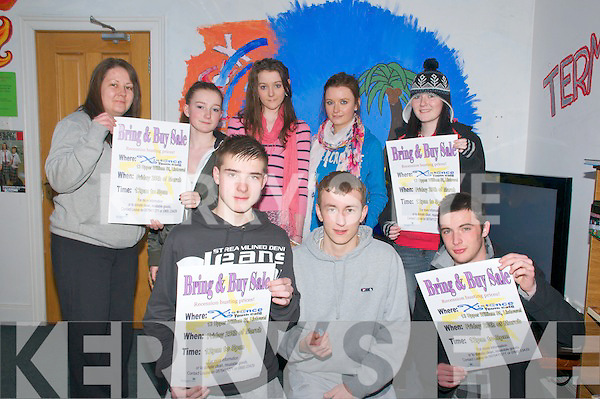 Bring & Buy Sale: Members of Xist@nce Youth Cafe, Listowel pictured at their premise iN William St, Listoel at the launch of theit Bring & Buy Sale to be held on Friday 26th March. Front : Darragh Leahy, Dan Goulding & John Loughnane. Back : Louise Lyons, Amy Lyons, Siobhan Heffernan, Claudine Clement & Nikita Fenten.....Ref Owen