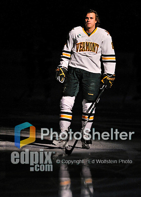 27 January 2012: University of Vermont Catamount forward Sebastian Stalberg, a Junior from Gothenburg, Sweden, is introduced prior to a game against the Northeastern University Huskies at Gutterson Fieldhouse in Burlington, Vermont. The Catamounts fell to the Huskies 8-3 in the first game of their 2-game Hockey East weekend series. Mandatory Credit: Ed Wolfstein Photo