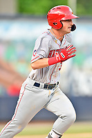 Hagerstown Suns third baseman Trey Vickers (30) runs to first base during a game against the Asheville Tourists at McCormick Field on April 30, 2019 in Asheville, North Carolina. The Tourists defeated the Suns 5-4. (Tony Farlow/Four Seam Images)