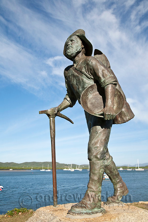Miners statue on the waterfront.  Cooktown, Queensland, Australia
