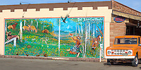Mural on side of Native America Gift Shop building next to Pete's Gas Station Museum on Route 66 in Williams Arizona.
