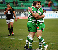 Manawatu's Aaron Good (right) congratulates Rob Foreman on scoring the final try in the 38-19 upset during the Air NZ Cup preseason match between Manawatu Turbos and Wellington Lions at FMG Stadium, Palmerston North, New Zealand on Friday, 17 July 2009. Photo: Dave Lintott / lintottphoto.co.nz