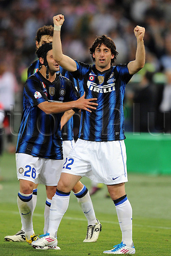 29.05.2011 Diego Milito (Inter) Diego Milito of Inter celebrates his goal during the Coppa Italia (TIM Cup) Final match between Inter Milan 3-1 Palermo at Stadio Olimpico in Rome, Italy.