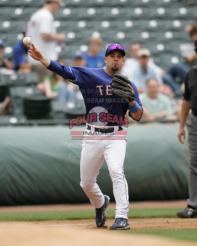 Texas Rangers 3B Ramon Vazquez against the Seattle Mariners on May 14th, 2008 at Texas Rangers Ball Park in Arlington, Texas. Photo by Andrew Woolley .