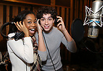 Hailey Kilgore and Isaac Powell from cast of the Broadway revival of 'Once on This Island' in the recording studio for the new Broadway cast recording with Broadway Records at Power Station on December 21, 2017 in New York City.