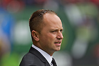 Portland, Oregon - Sunday October 2, 2016: Portland Thorns FC head coach Mark Parsons during a semi final match of the National Women's Soccer League (NWSL) at Providence Park.