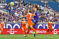 Orlando, FL - Thursday June 23, 2016: Ellie Brush, Alex Morgan during a regular season National Women's Soccer League (NWSL) match between the Orlando Pride and the Houston Dash at Camping World Stadium.