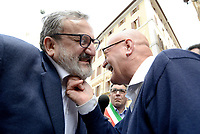 Roma, 11 Maggio 2017<br /> Michele Emiliano e l'oncologo Giuseppe Serravezza.<br /> Manifestazione a Roma dei Sindaci Salentini a Montecitorio contro il Gasdotto Tap